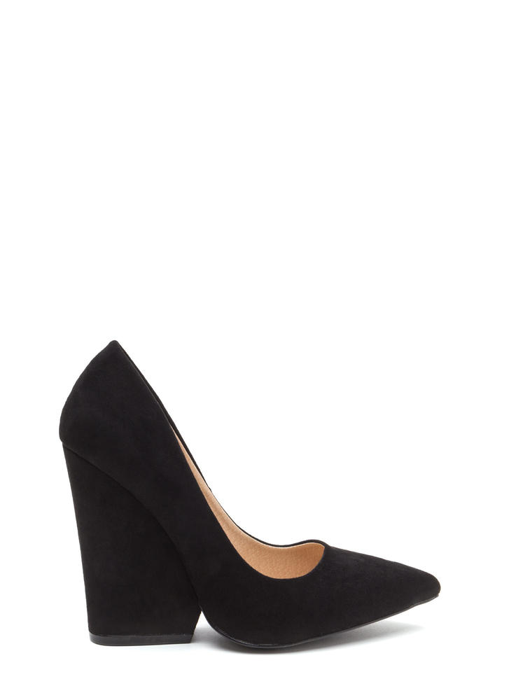 Bring Up A Point Faux Suede Wedges BLACK