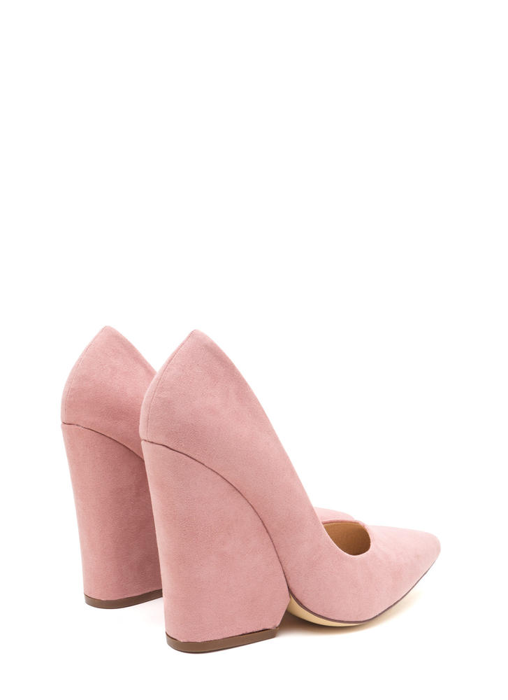Bring Up A Point Faux Suede Wedges DUSTYPINK