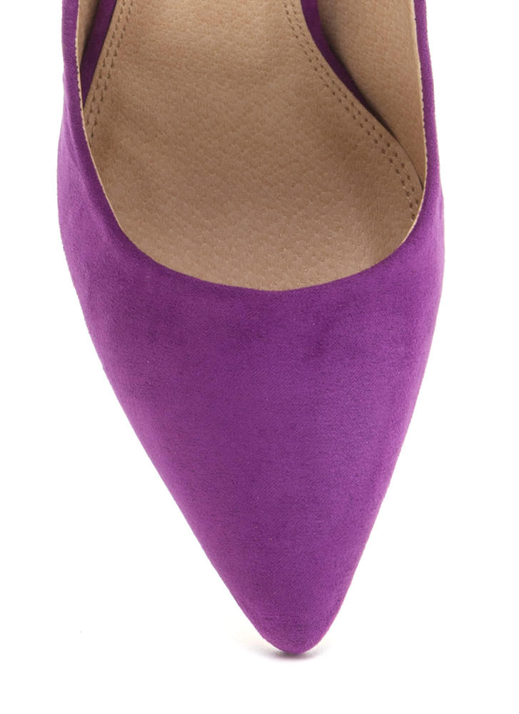 Bring Up A Point Faux Suede Wedges PURPLE (Final Sale)