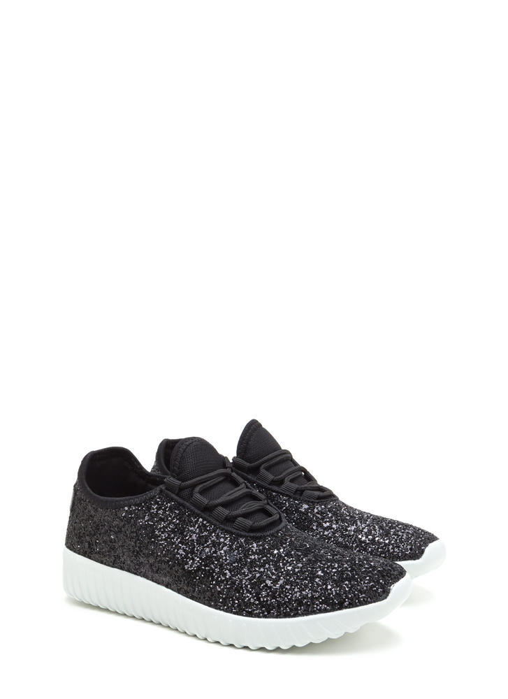 All Glitz Lace-Up Sneakers BLACK (You Saved $18)