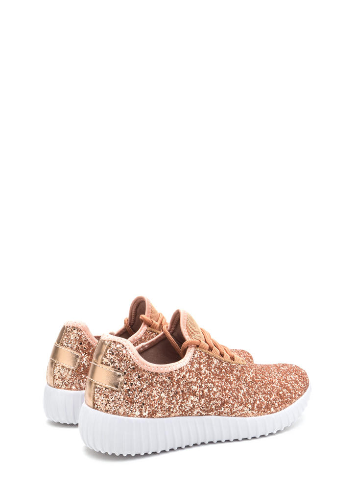 All Glitz Lace-Up Metallic Sneakers ROSEGOLD