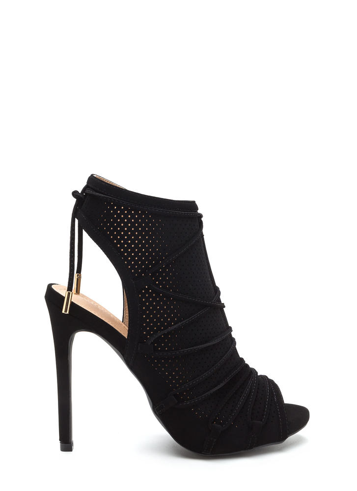 Hole Thing Faux Nubuck Lace-Up Heels BLACK