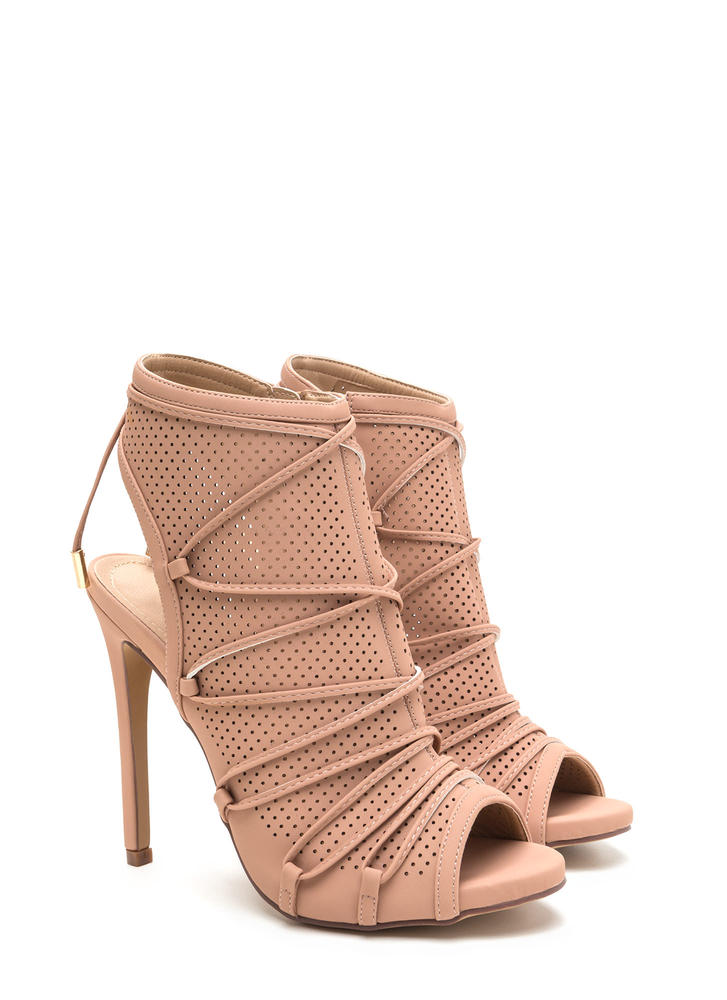 Hole Thing Faux Nubuck Lace-Up Heels NUDE