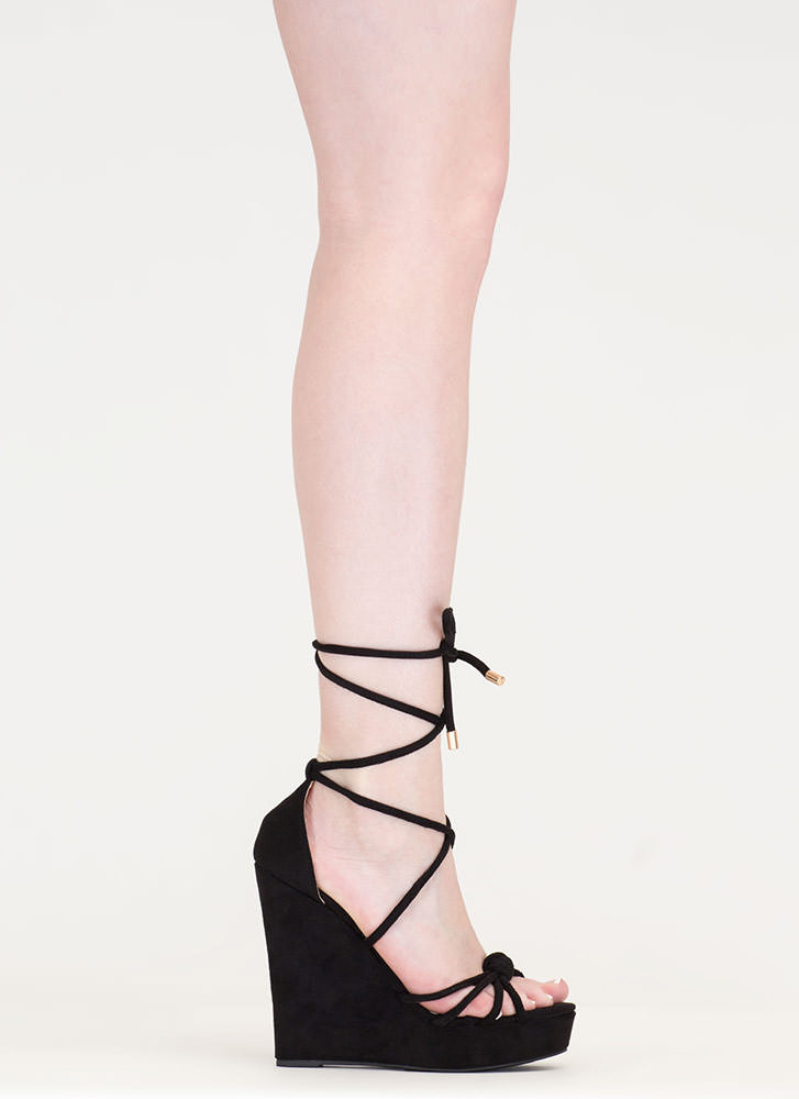 He Loves Me Knot Lace-Up Wedges BLACK