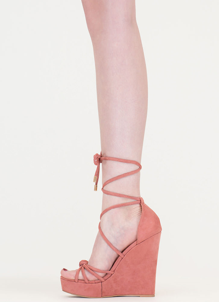 He Loves Me Knot Lace-Up Wedges DUSTYPINK (Final Sale)