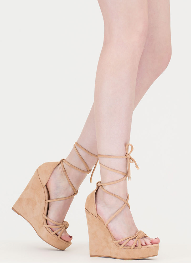He Loves Me Knot Lace-Up Wedges NUDE (Final Sale)