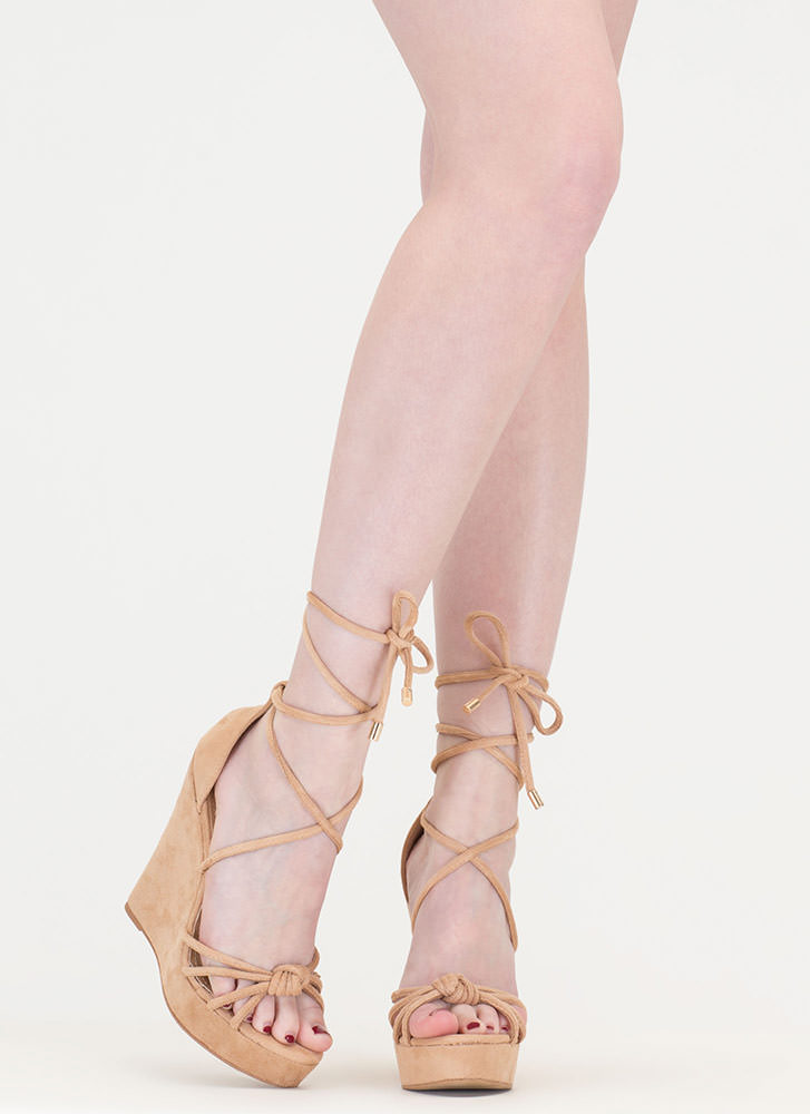 He Loves Me Knot Lace-Up Wedges NUDE