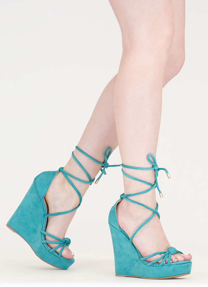 He Loves Me Knot Lace-Up Wedges SEAGREEN