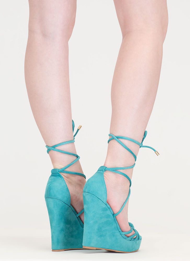 He Loves Me Knot Lace-Up Wedges SEAGREEN (Final Sale)