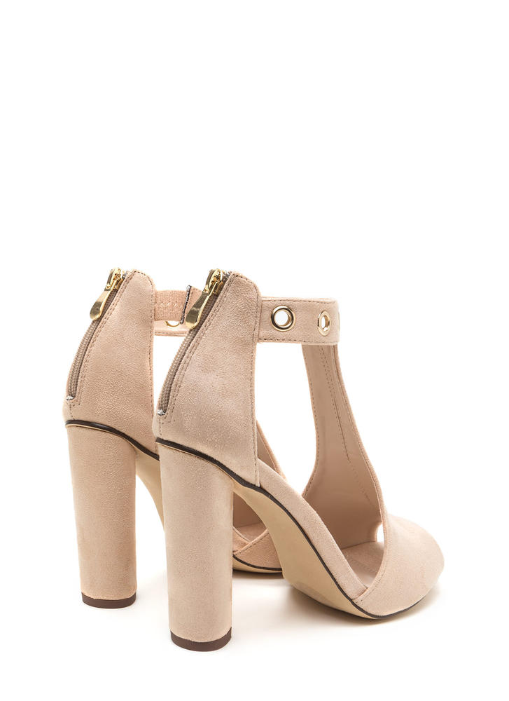 Hole-some Cut-Out Chunky Heels NUDE (Final Sale)