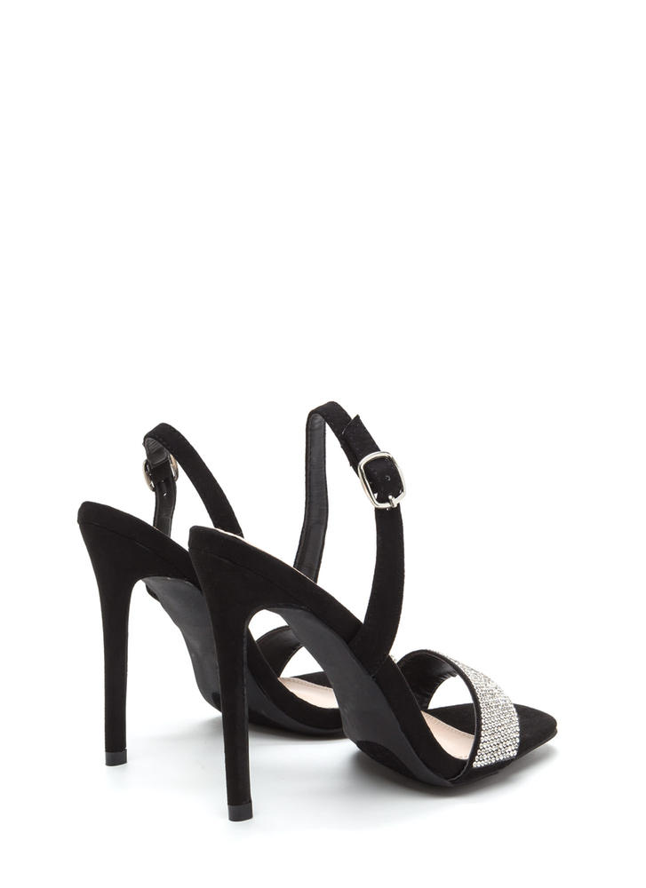 Keep Gleaming Strappy Faux Suede Heels BLACK