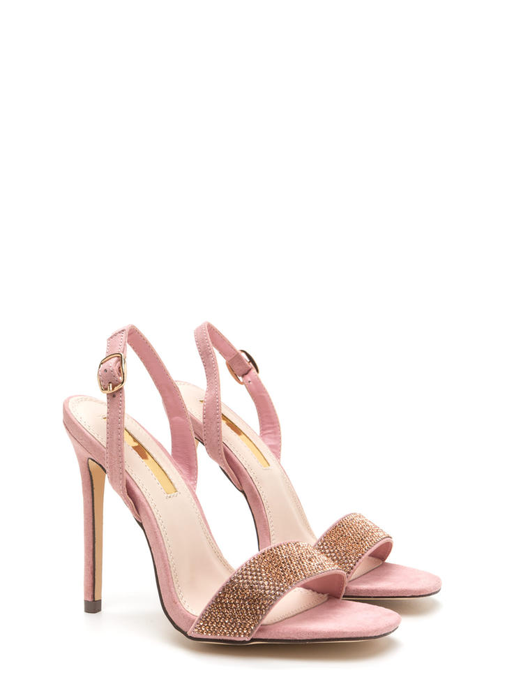 Keep Gleaming Strappy Faux Suede Heels DUSTYPINK