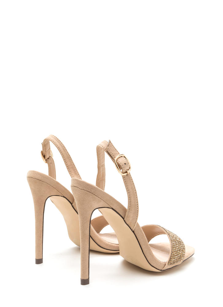 Keep Gleaming Strappy Faux Suede Heels NUDE