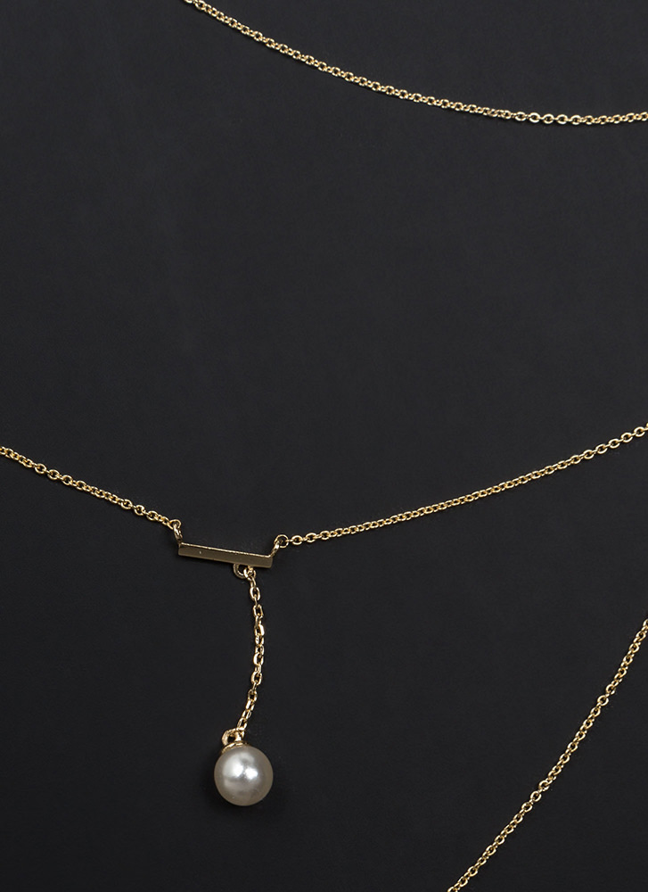 Dive In Dainty Faux Pearl Necklace GOLD