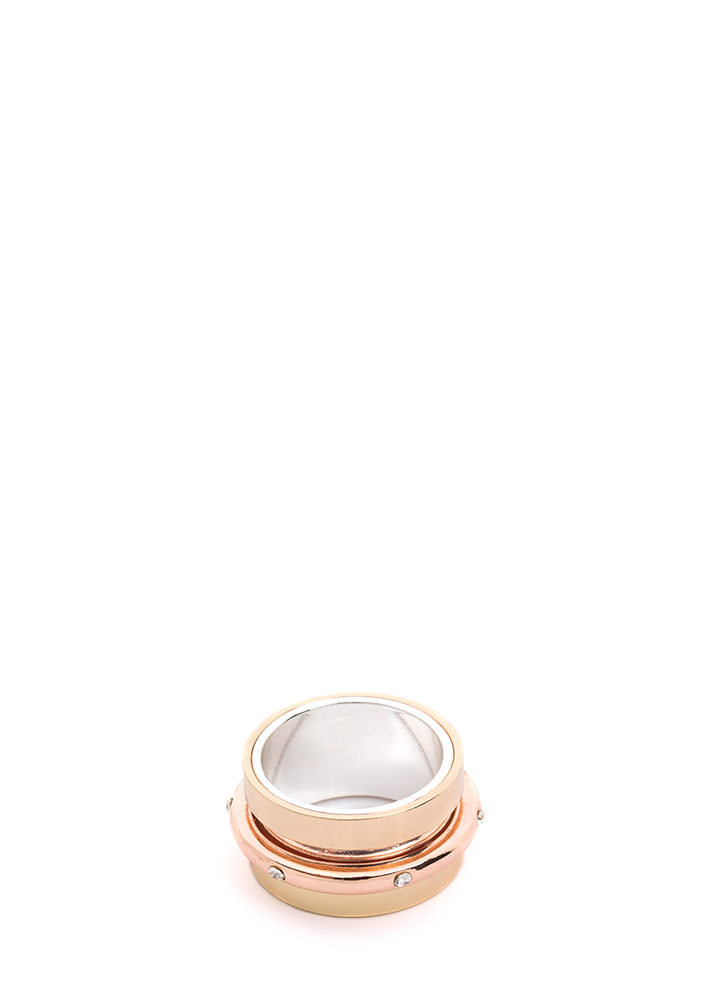 Slide By Wide Rhinestone Ring GOLD