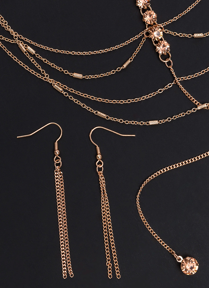 Evening Gala Faux Jewel Necklace Set ROSEGOLD