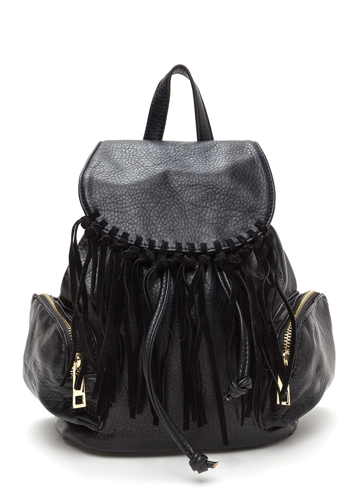 Fringe Feels Faux Leather Mini Backpack BLACK