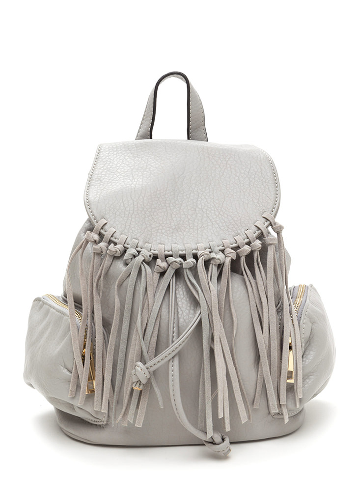 Fringe Feels Faux Leather Mini Backpack GREY