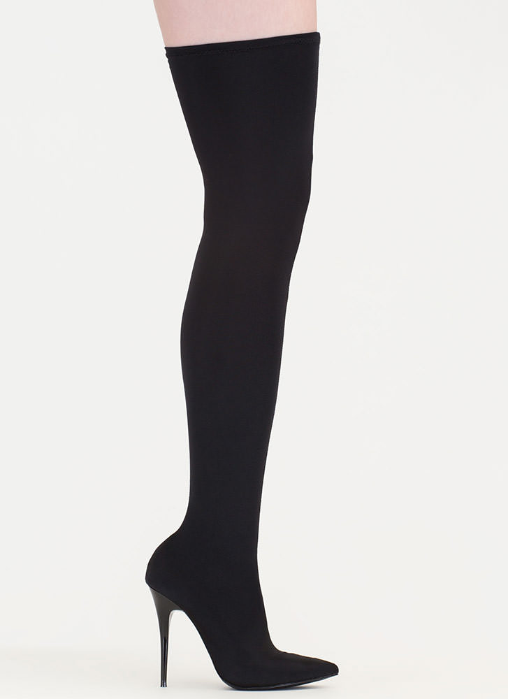 Pull Me Up Pointy Thigh-High Boots BLACK
