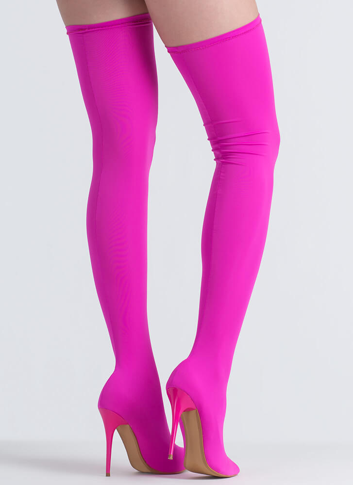 Pull Me Up Pointy Thigh-High Boots HOTPINK