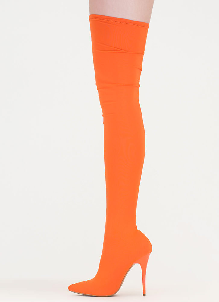 Pull Me Up Pointy Thigh-High Boots ORANGE