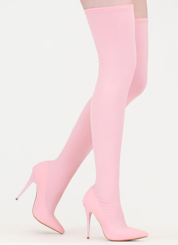 Pull Me Up Pointy Thigh-High Boots PINK