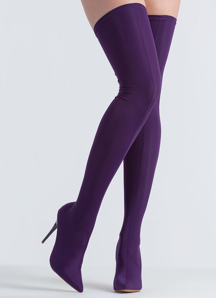Pull Me Up Pointy Thigh-High Boots PURPLE
