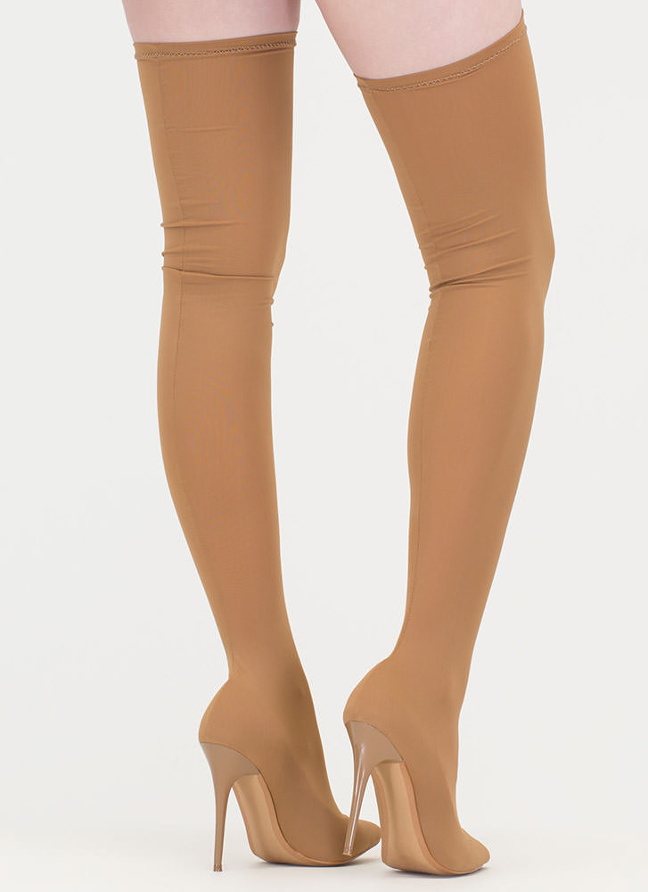 Pull Me Up Pointy Thigh-High Boots TAUPE