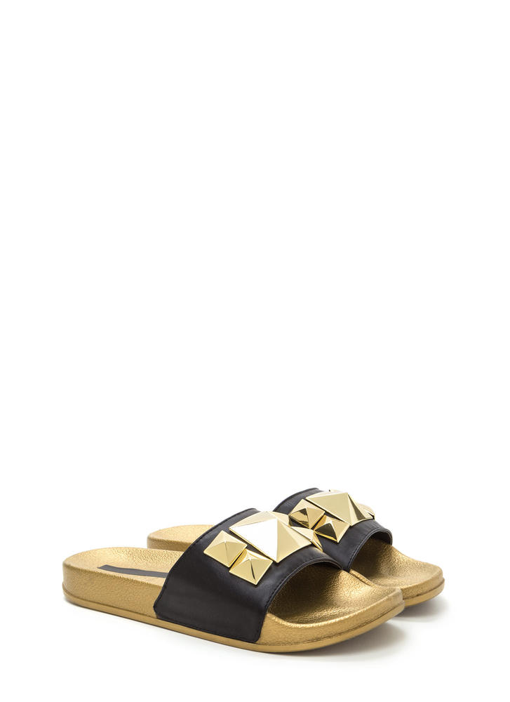 Perfect Pyramids Platform Slide Sandals BLACK