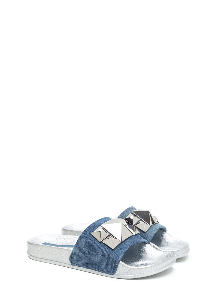 Perfect Pyramids Platform Slide Sandals BLUE