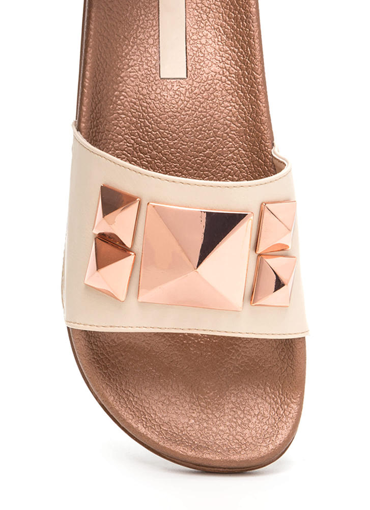 Perfect Pyramids Platform Slide Sandals NUDE