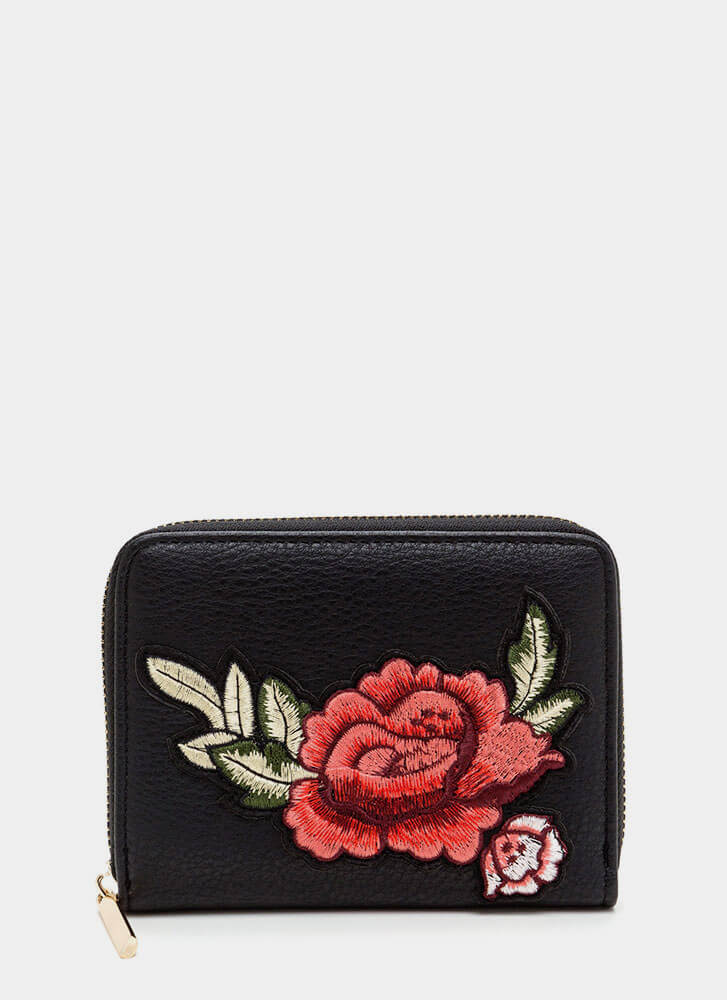 Garden Rose Faux Leather Wallet BLACK