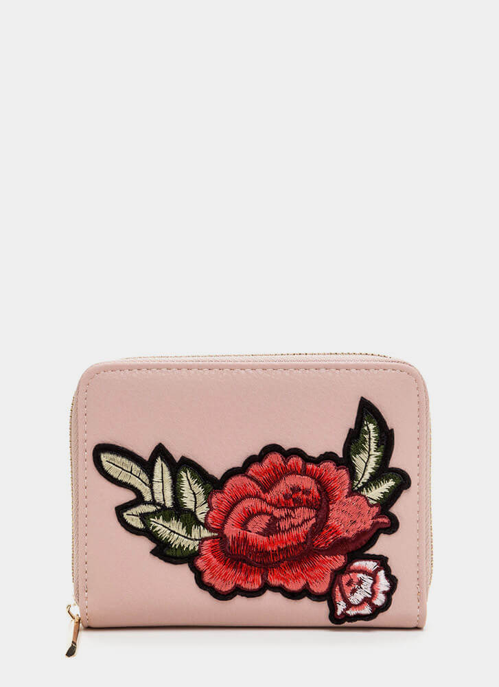 Garden Rose Faux Leather Wallet BLUSH