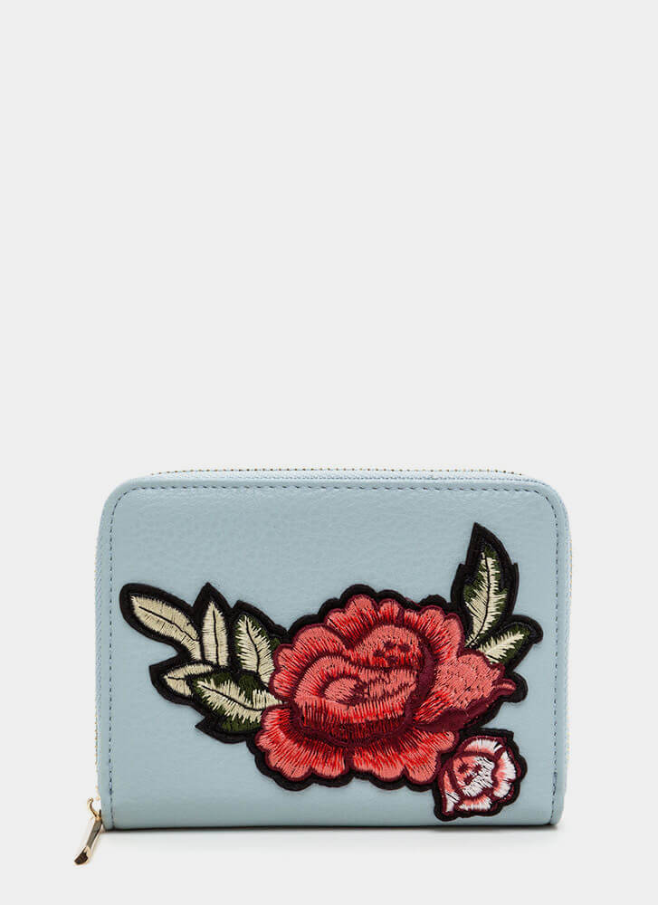 Garden Rose Faux Leather Wallet DUSTYBLUE