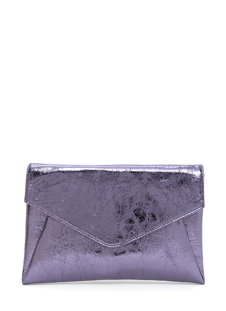 Precious Metals Textured Envelope Clutch PEWTER (Final Sale)