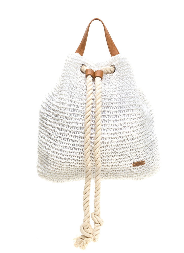 Beach Bum Woven Drawstring Backpack IVORY