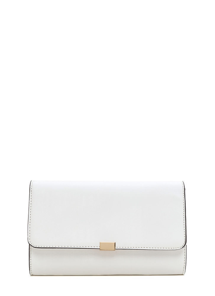 Dinner Date Faux Leather Clutch WHITE