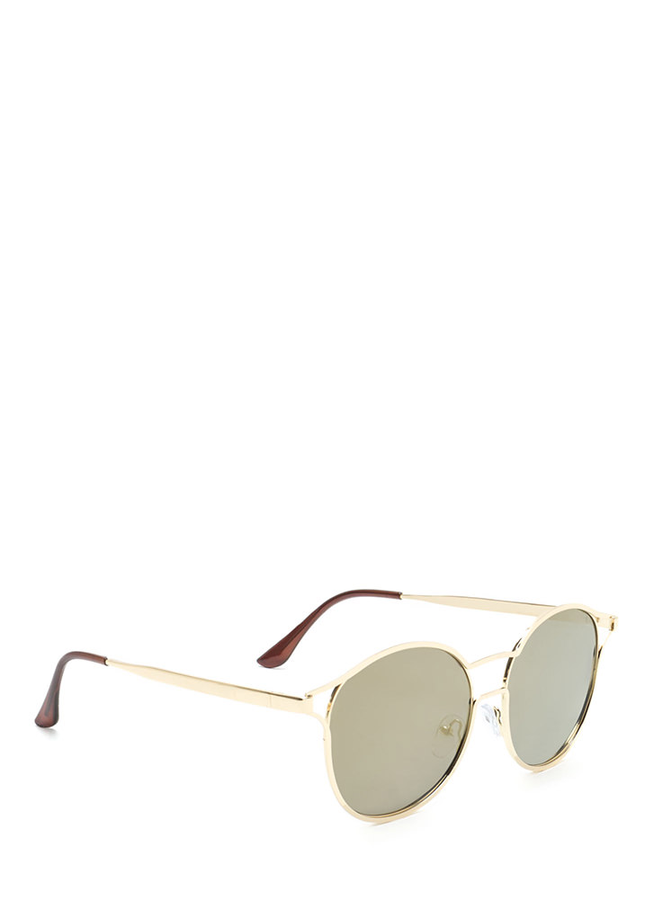 Make The Cut-Out Round Sunglasses OLIVEGOLD