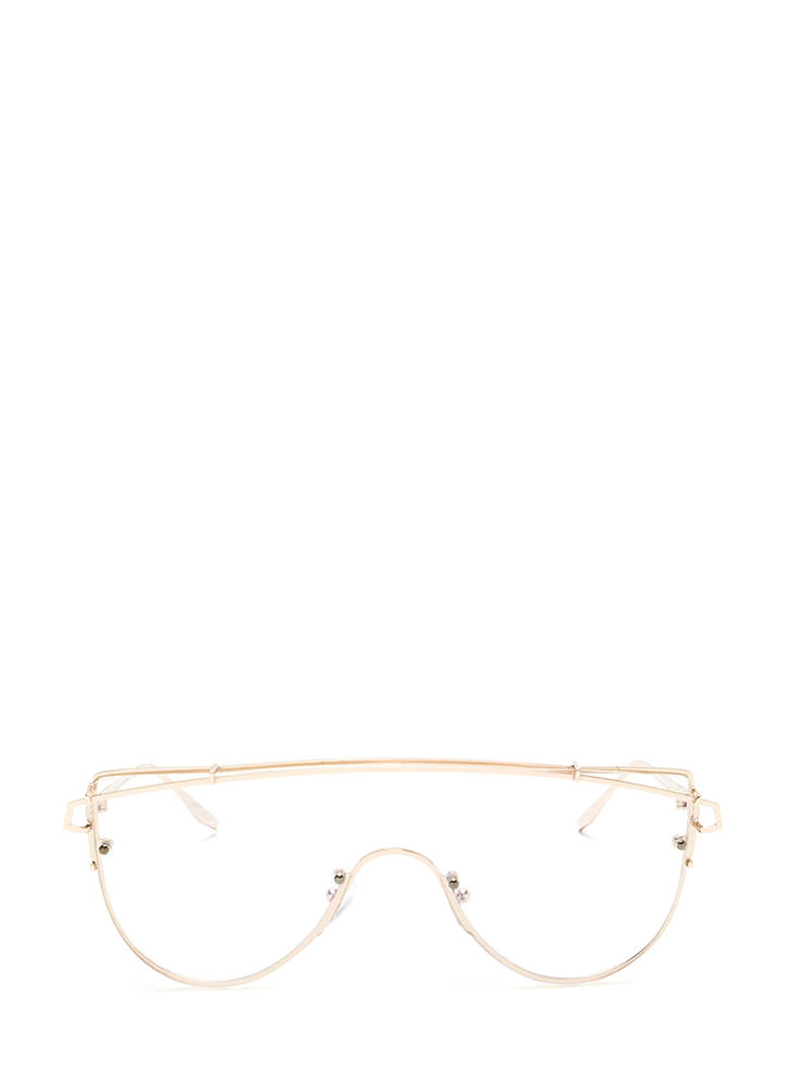 Style Radar Brow Bar Shield Glasses GOLD