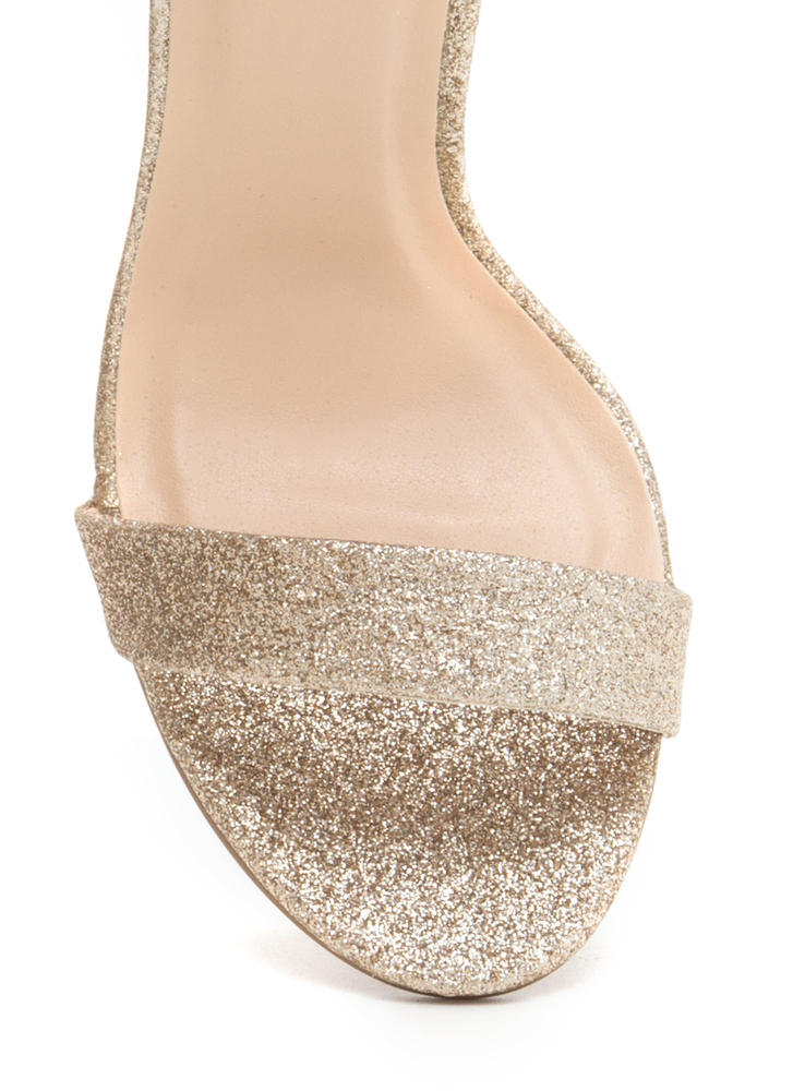 Glam Party Glittery Clear Chunky Heels CHAMPAGNE
