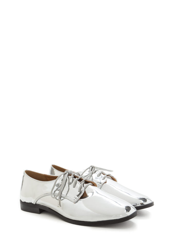 Polished Finish Metallic Oxford Flats SILVER (Final Sale)