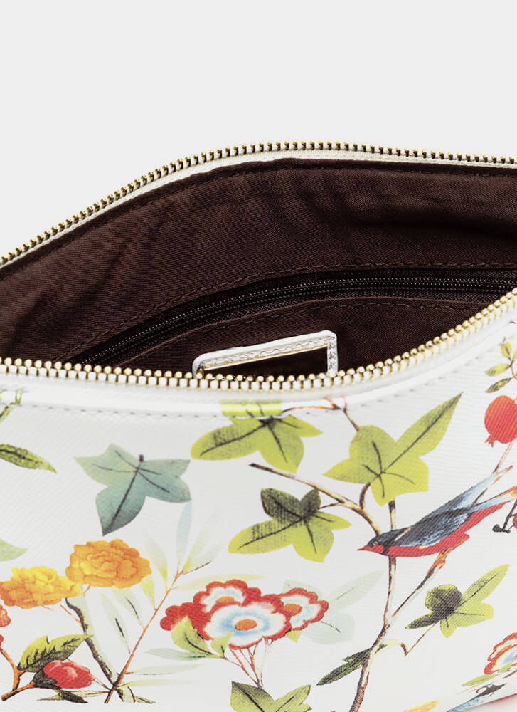 Nature Walk Printed Faux Leather Clutch WHITE