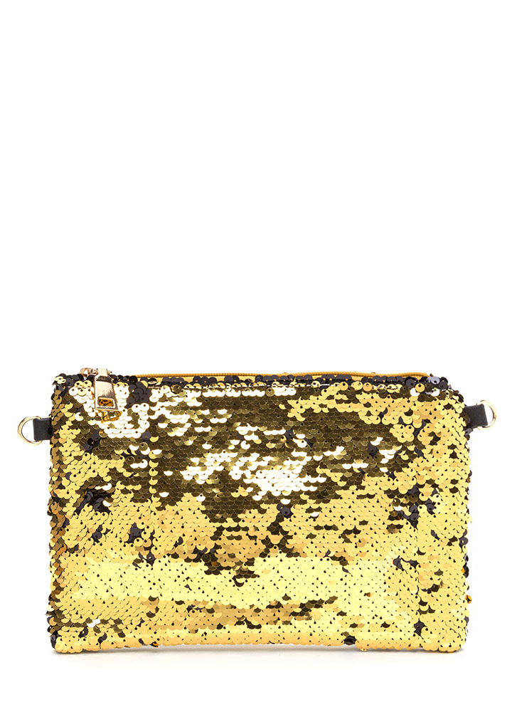 Have A Shine Time Sequined Clutch GOLD
