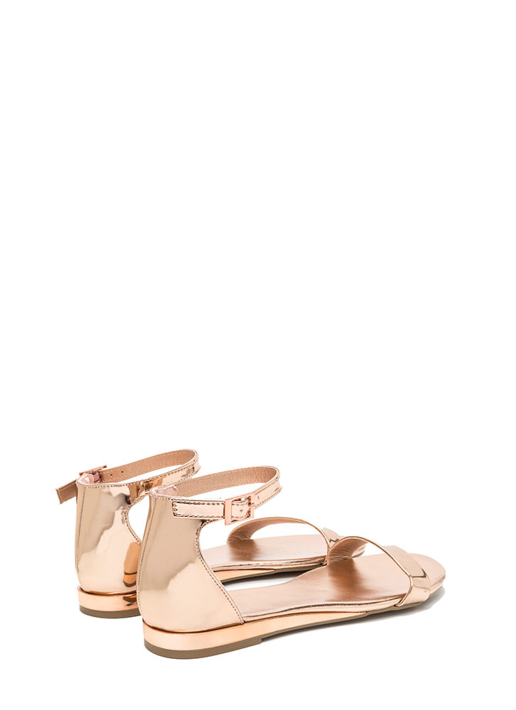 Toe The Line Strappy Metallic Sandals ROSEGOLD