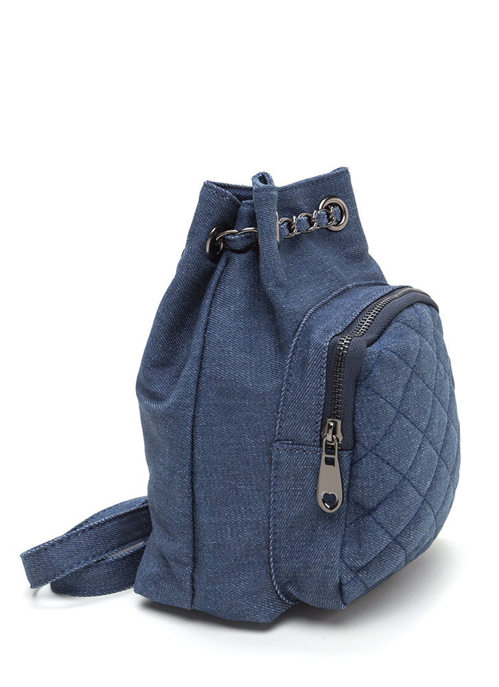 Style Genius Quilted Denim Mini Backpack DKBLUE