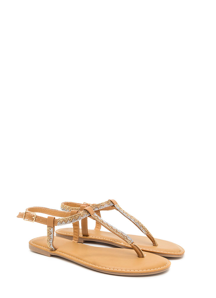 Glitz A Hit Faux Leather T-Strap Sandals TAN (You Saved $12)
