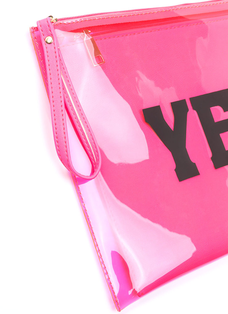 Yes Or No Flat Zippered Clutch NEONPINK (Final Sale)
