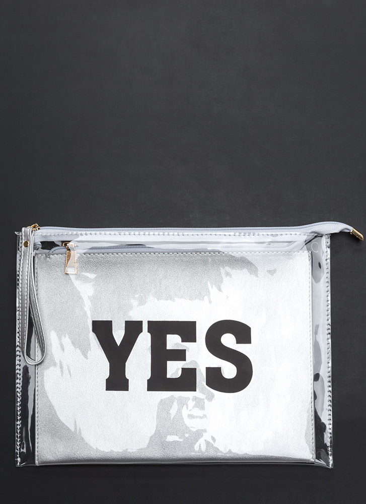Yes Or No Flat Zippered Clutch SILVER (Final Sale)