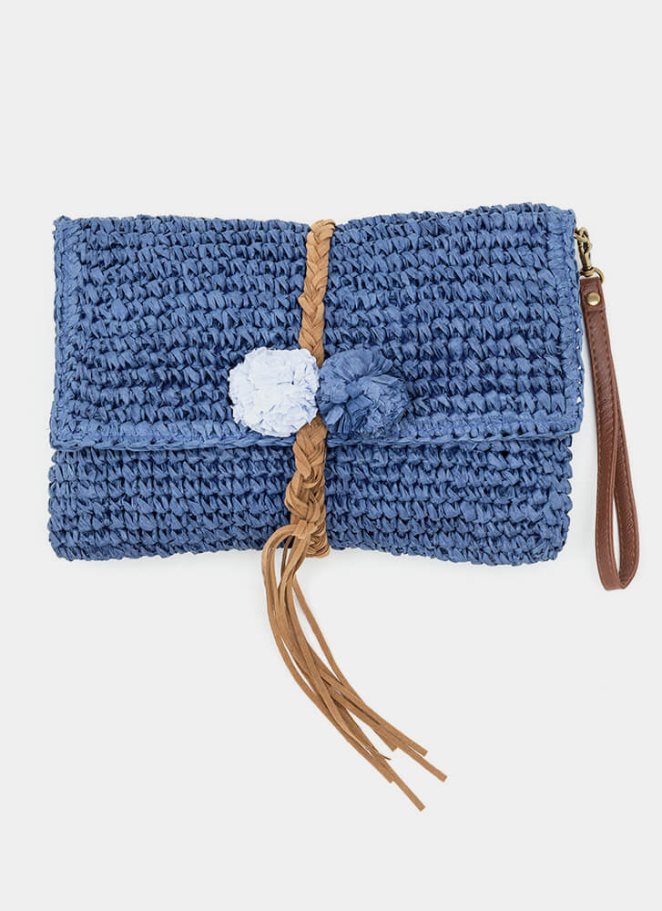 Boho Beautiful Straw Pom-Pom Clutch BLUE