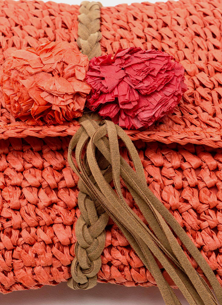Boho Beautiful Straw Pom-Pom Clutch CORAL